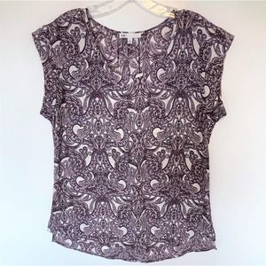 DR2 Lavender Paisley Floral Sleeveless Top Size S